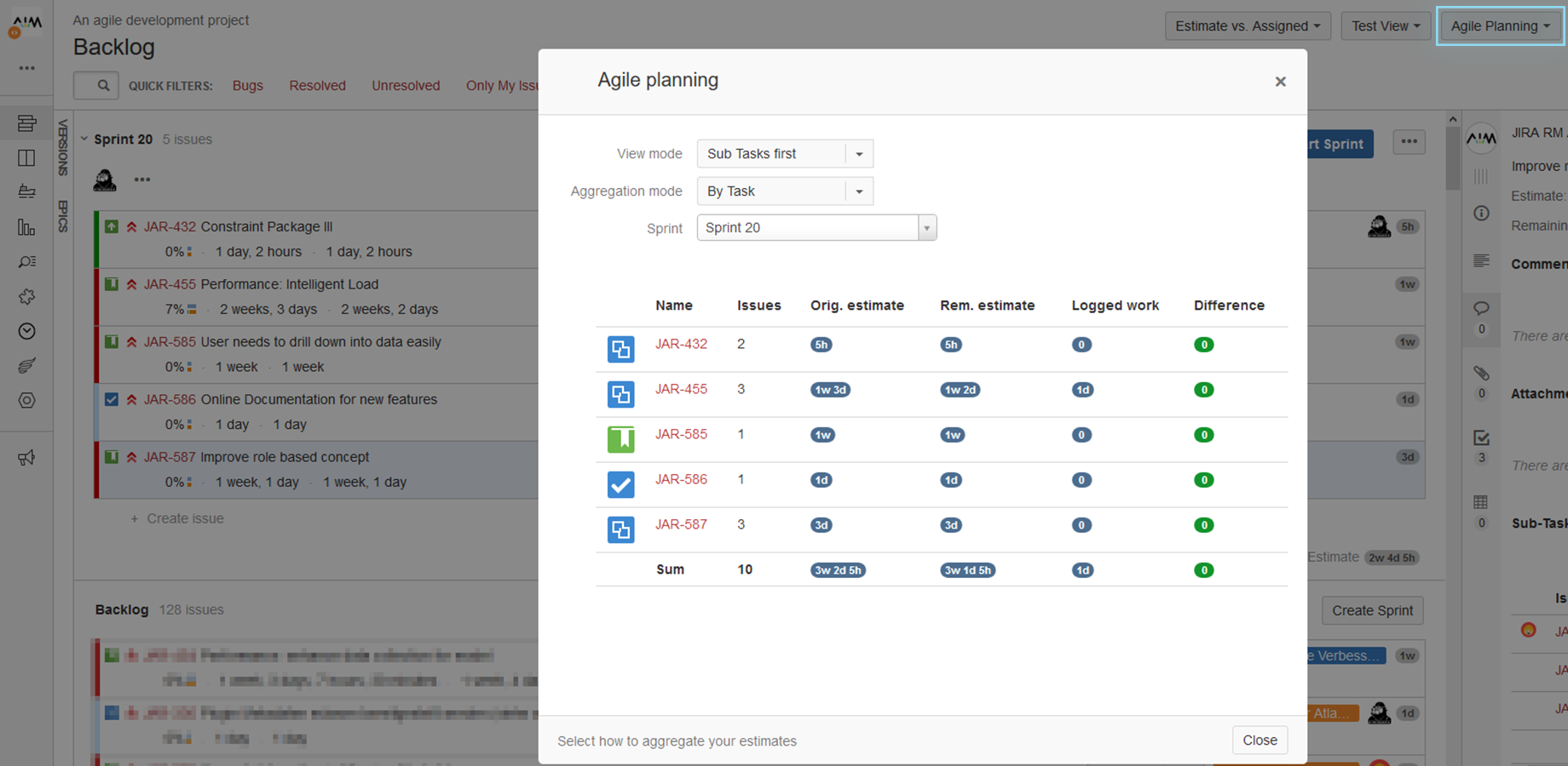 AIM Agile Planning for JIRA Screenshot